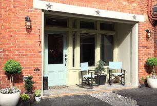 Traditional Front Door with Folding Rocking Directors Chair, Transom window, exterior stone floors, Glass panel door, Pathway