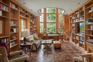 Traditional Home Office with Built-in bookshelf, Walnut Bordeaux Parquet