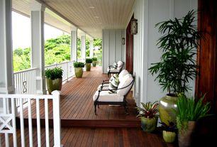 Tropical Porch with Wrap around porch, Deck Railing