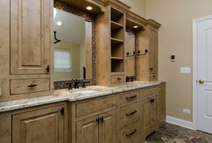 Eclectic Master Bathroom with stone tile floors, Master bathroom, can lights, Inset cabinets, Wall Tiles, Raised panel