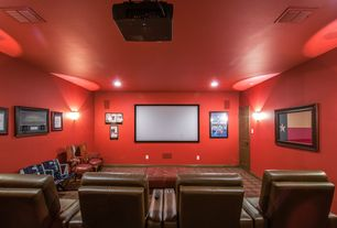 Eclectic Home Theater with Carpet, Wall sconce