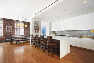 Modern Kitchen with BLC Hardwood Flooring Antiqued Wire Brushed Sierra Pine 3/4 in. x 5-1/8 in. Wide x Random Length Sol