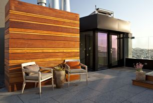 Contemporary Patio with Fence, exterior tile floors, French doors