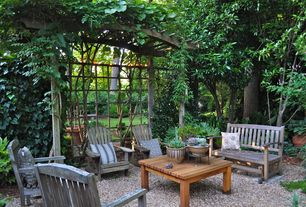 Traditional Patio with exterior stone floors, Fence, Trellis, Pathway