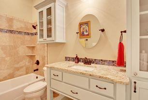 Traditional Full Bathroom with Standard height, Inset cabinets, Alcove bathtub, Santa cecilia granite, tiled wall showerbath
