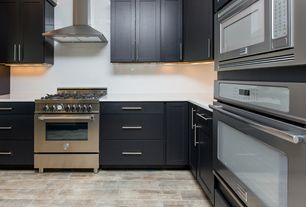 Contemporary Kitchen with Dupont Corian Designer White, Flat panel cabinets, European Cabinets, Quartz counters, Flush