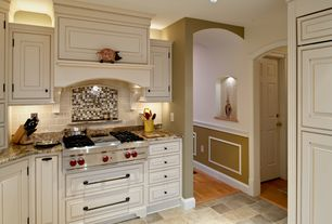 Traditional Kitchen with Raised panel, Subway Tile, Inset cabinets, One-wall, Complex Granite, Custom hood, slate tile floors