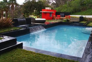 Contemporary Swimming Pool with Raised beds, Pathway, Fountain, Fence