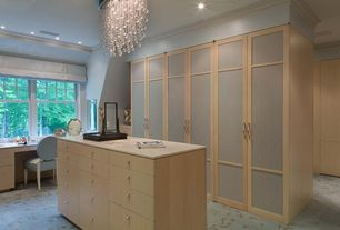 Contemporary Closet with Crown molding, double-hung window, Standard height, Paint, can lights, Carpet, Chandelier