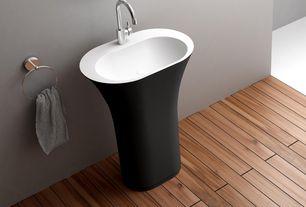 Contemporary Master Bathroom with Hardwood floors, Powder room, Standard height, Paint