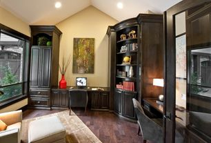 Traditional Home Office with Megan Meagher Mediterranean Composition I, High ceiling, Built-in bookshelf, Hardwood floors