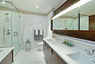 Modern Master Bathroom with Pental slab marble, Handheld showerhead, European Cabinets, Complex marble counters, Rain shower
