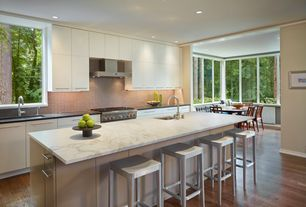 Contemporary Kitchen with Ceramic Tile, gas range, Soapstone counters, One-wall, Undermount sink, Complex marble counters