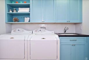 Traditional Laundry Room with laundry sink, Standard height, Undermount sink, Built-in bookshelf