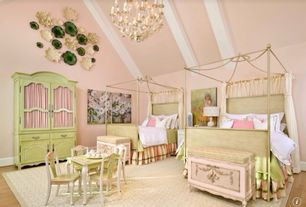 Traditional Kids Bedroom with Puebla Armoire, Italian Campaign Canopy Bed, Chandelier, Hardwood floors, Painted Hutch, Hutch