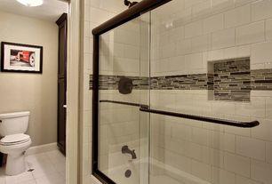 Modern Full Bathroom with flush light, Flat panel cabinets, Flush, tiled wall showerbath