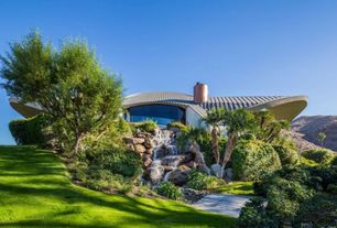 Modern Landscape/Yard with Treated Pine Fiore Plank Garden Bridge, UFO house, Pathway, Copper Roof