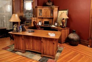 Craftsman Home Office with Hardwood floors, Standard height, double-hung window