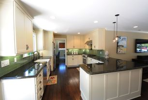Traditional Kitchen with Flush, Simple granite counters, full backsplash, Bronze cup pull, Pendant light, Wall Hood, Paint 1