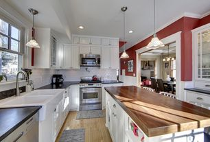 Traditional Kitchen with Paint 1, Kitchen island, Inset cabinets, built-in microwave, Wood counters, Wainscotting, can lights