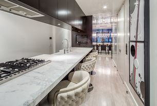 Modern Kitchen with Simple marble counters, Open wall galley kitchen, Complex marble counters, Undermount sink, Paint 1