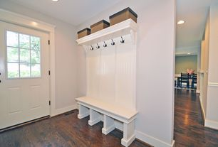 Traditional Entryway with Chair rail, Cherry - amberwood 5 in. engineered hardwood wide plank, Glass panel door, Paint