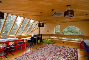 Contemporary Playroom with Hardwood floors, specialty window, Standard height, Columns, can lights, Window seat, Skylight