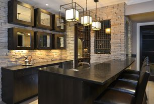 Contemporary Bar with High ceiling, Pendant light, Hardwood floors