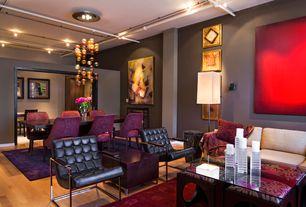 Contemporary Living Room with Hardwood floors, Pendant light, Tibet Black Club Chair