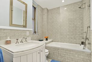 Contemporary Full Bathroom with frameless showerdoor, Standard height, Undermount sink, Handheld showerhead, Complex Marble