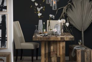 Contemporary Dining Room with Hardwood floors, West elm emmerson reclaimed wood dining bench, Pendant light, Standard height