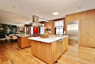 Modern Kitchen with One-wall, Stainless steel counters, Undermount sink, Simple granite counters, European Cabinets, Flush