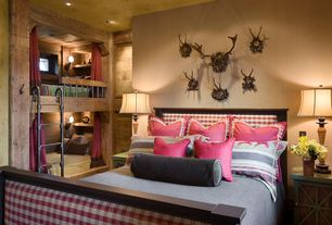 Rustic Guest Bedroom with Upholstered headboard and footboard, Built in bunk beds, Taxidermy wall mounts, can lights, Paint