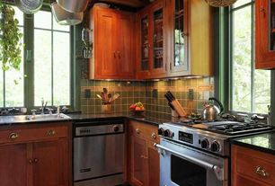 Craftsman Kitchen with Fireclay Tile Sea Green, L-shaped, Flat panel cabinets, Hardware house cabinet cup pull, Glass panel