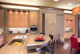 Asian Kitchen with Simple granite counters, Kitchen island, Breakfast nook, flush light, L-shaped, European Cabinets, Flush