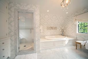Traditional Full Bathroom with Chandelier, Inset cabinets, Bathtub, Bianco venatino, Shower, interior wallpaper, can lights