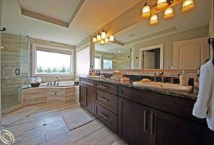 Contemporary Master Bathroom with Complex granite counters, Flush, frameless showerdoor, Flat panel cabinets, specialty door