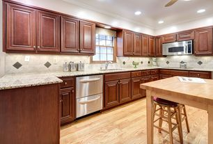 Traditional Kitchen with Breakfast bar, L-shaped, Large Ceramic Tile, Ceiling fan, High ceiling, Kitchen island, Raised panel