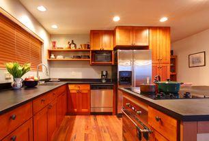 Craftsman Kitchen with Hunter Douglas Parkland Genuine Woods Blinds, Hardwood floors, Flush, European Cabinets, Wood blinds