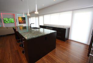 Contemporary Kitchen with One-wall, Pendant light, Flush, Destiny: slab cabinets, Breakfast bar, Cone Mini Pendant