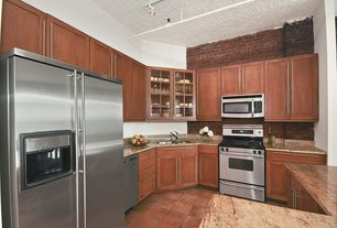 Modern Kitchen with gas range, U-shaped, partial backsplash, terracotta tile floors, Complex granite counters, dishwasher