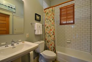 Traditional Full Bathroom with Flush, MS International Whisper White Glazed Handcrafted 3x6 Ceramic Tile, Pedestal sink