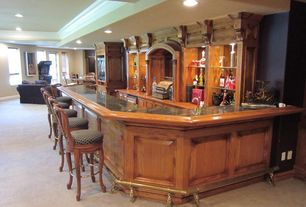 Traditional Bar with Concrete floors, Built-in bookshelf, Standard height, can lights