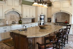Traditional Kitchen with Randolph Morris 39 x 18 Double Bowl Fireclay Farmhouse Sink, Stone Tile, Raised panel, Crown molding
