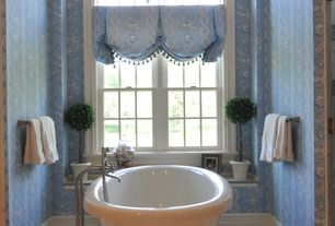 Traditional Full Bathroom with Arched window, complex marble tile floors, frameless showerdoor, Full Bath, Shower, Bathtub