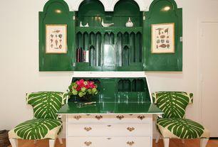 Eclectic Living Room with Paint, Built-in bookshelf, Bamboo flooring, Standard height, Hardwood floors