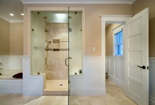 Craftsman Master Bathroom with Master bathroom, frameless showerdoor, Daltile esta villa terrace beige 12x12 floor tile