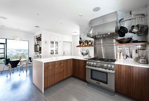 "Contemporary Kitchen with Deluxe magnetic knife bar, Waterfall countertop, White quartz countertop in ""snowstorm"""