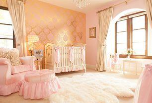 Traditional Kids Bedroom with interior wallpaper, Bratt Decor Chelsea Lifetime Crib in White, Chandelier, Carpet, Art desk
