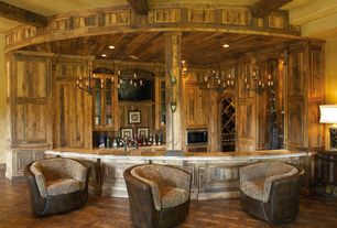 Rustic Bar with Columns, Exposed beam, Chandelier, Hardwood floors, can lights, High ceiling